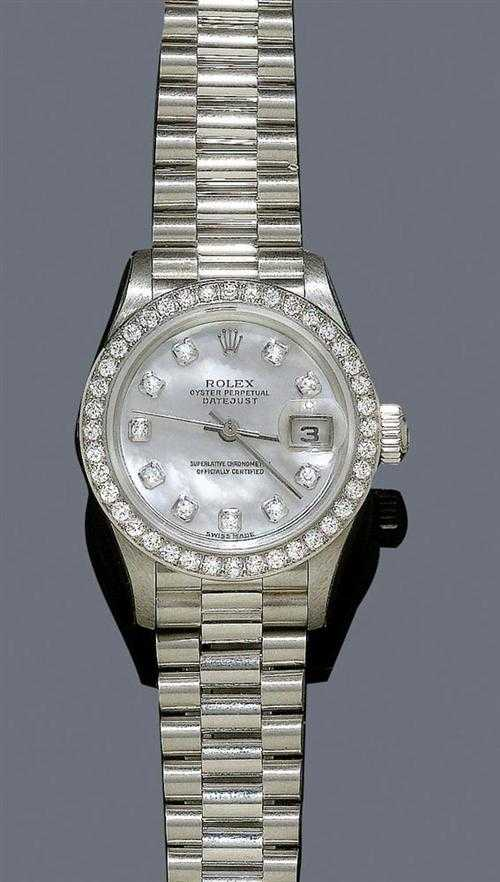 DIAMOND AND PLATINUM LADY'S WRISTWATCH, ROLEX