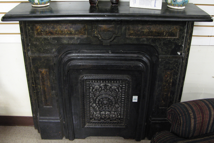 LATE VICTORIAN CAST AND MARBLEIZED IRON FIREPLACE