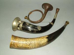 A copper and brass hunting horn, late 19th