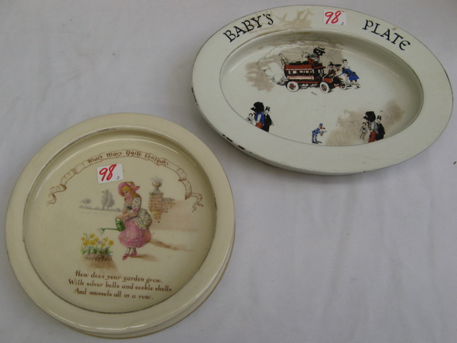 TWO COLLECTIBLE CHILDS' IRONSTONE PLATES.
