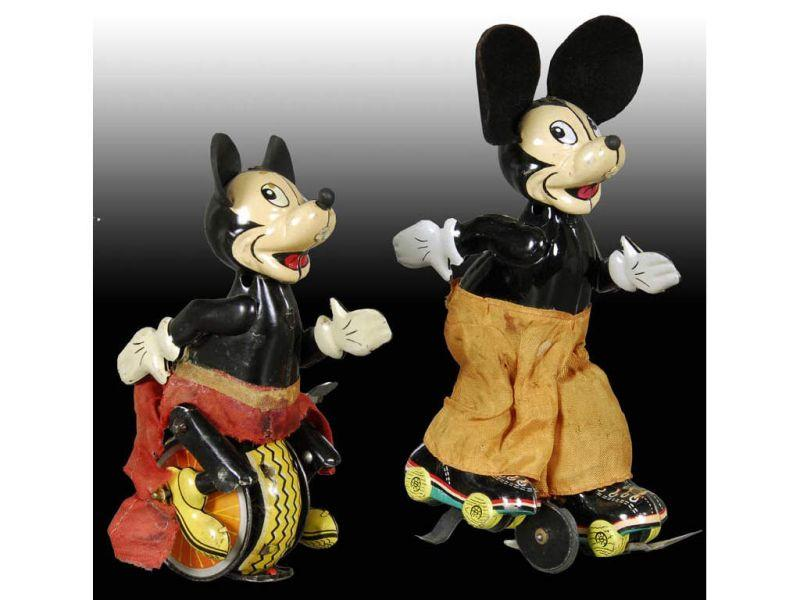 Lot of 2: Linemar Tin Wind-Up Walt Disney