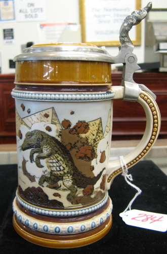 GERMAN METTLACH BEER STEIN, 1/2 liter, no.