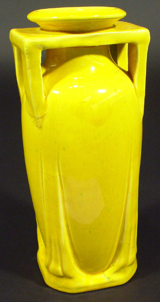 Teco style Arts and Crafts pottery vase decorated