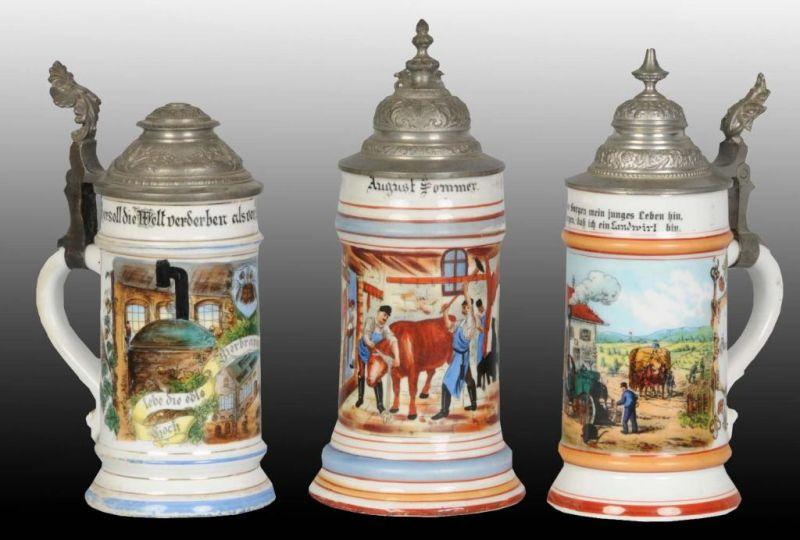 Lot of 3: Lithopane Bottom 0.5 Liter Steins.