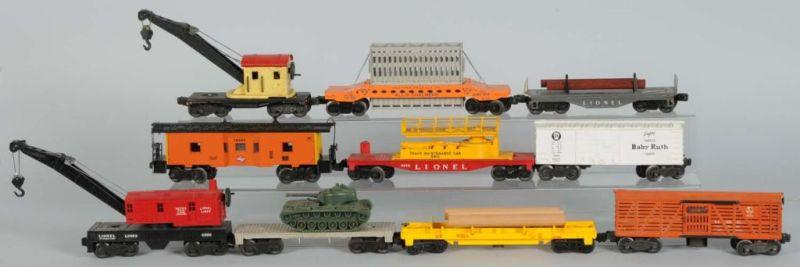 Lot of 10: Lionel O-Gauge Freight Cars. Description
