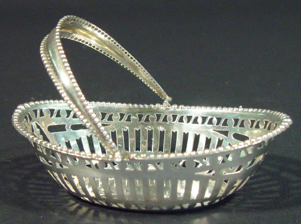 Silver basket shaped bonbon dish with pierced