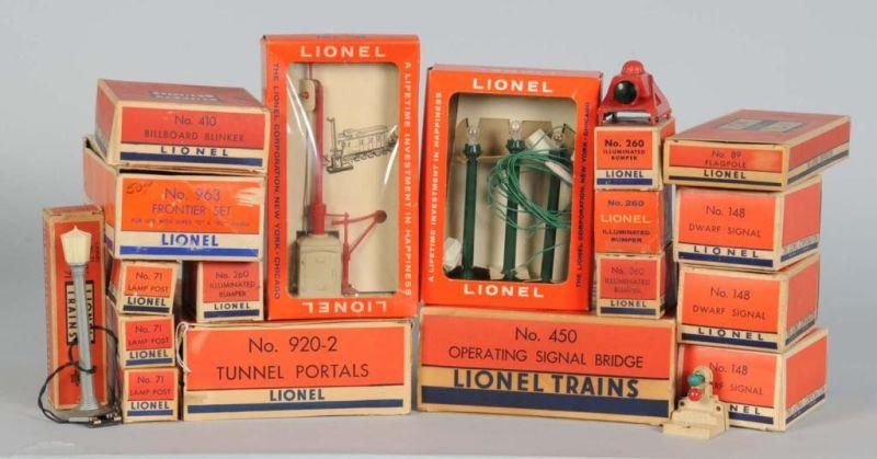 Lot of Lionel Accessories & Boxes. Description