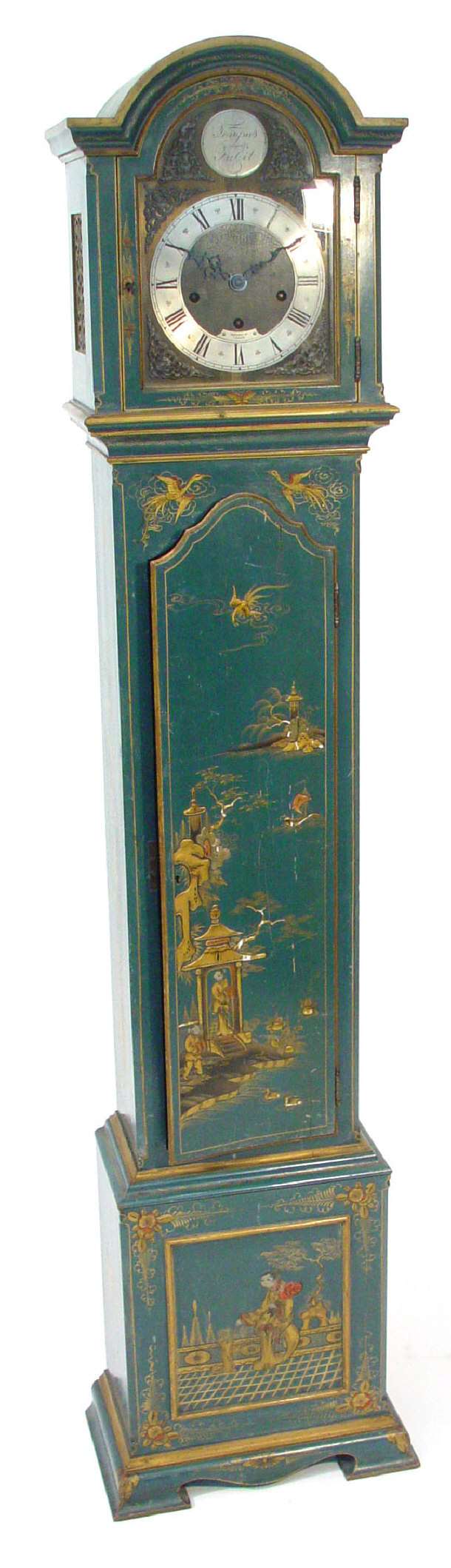 1930s chinoiserie long case clock with Westminster