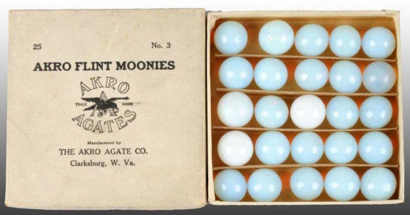 Box of Akro Flint Moonies Marbles. Description