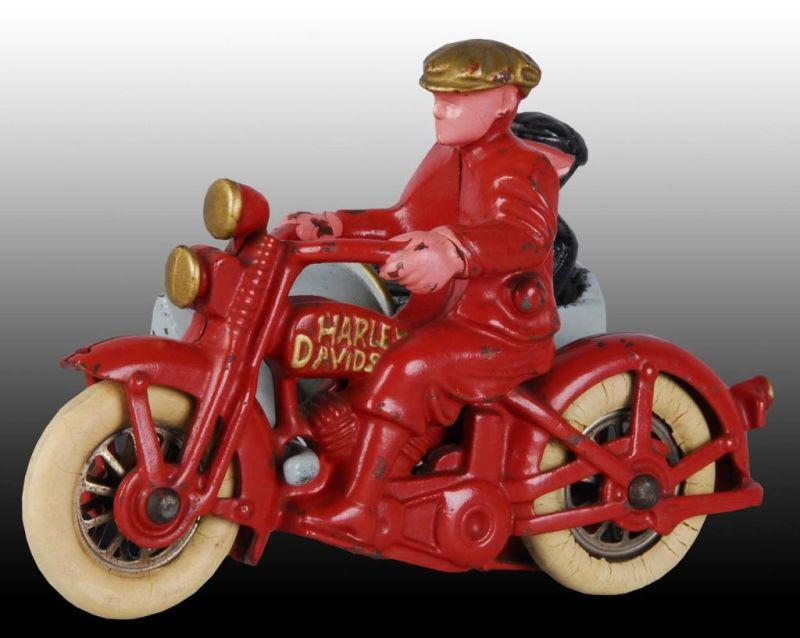 Cast Iron Hubley Harley Motorcycle Sidecar