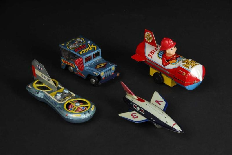 Lot of 4: Tin Space Friction & Wind-Up Toys.