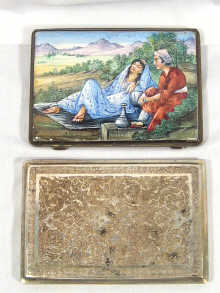 Two Persian silver cigarette cases , one