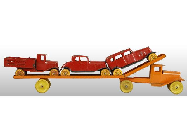 Pressed Steel Girard Car Carrier with 3 Vehicles.