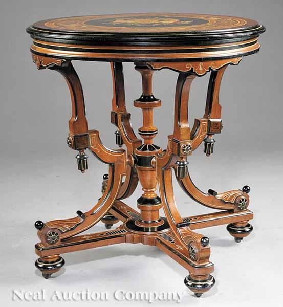 An American Renaissance Ebonized, Gilt-Incised