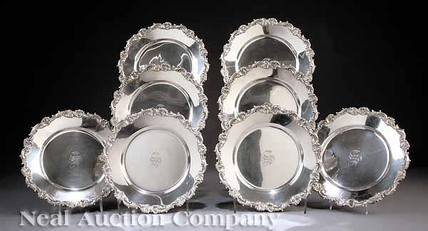 A Set of Eight American Sterling Silver Plates,