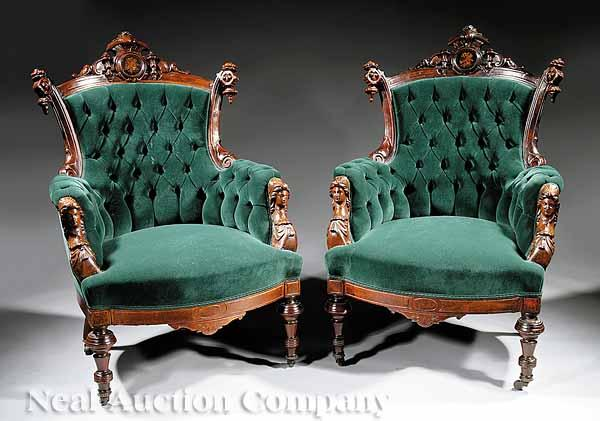 A Pair of American Renaissance Carved Walnut,