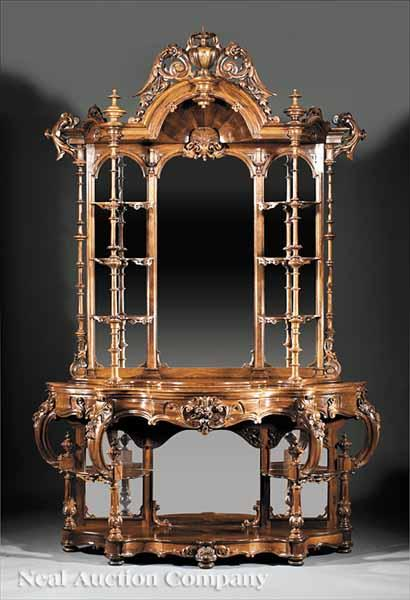 An American Rococo Carved Rosewood Étagère,