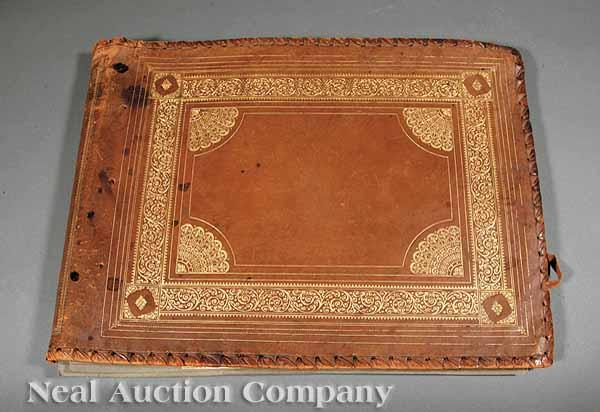 An Arts and Crafts Gilt-Tooled Brown Leather