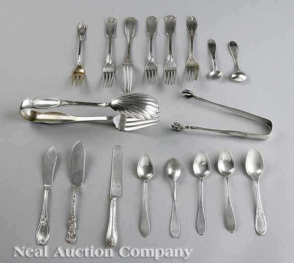 A Group of American Coin Silver Flatware,