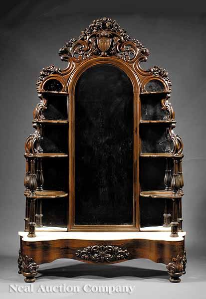 An Exceptional American Rococo Carved Rosewood