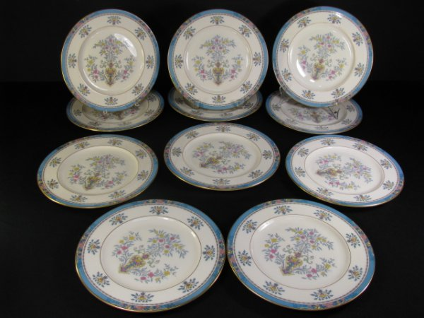 "Eleven Lenox China 9"" wide luncheon plates,"