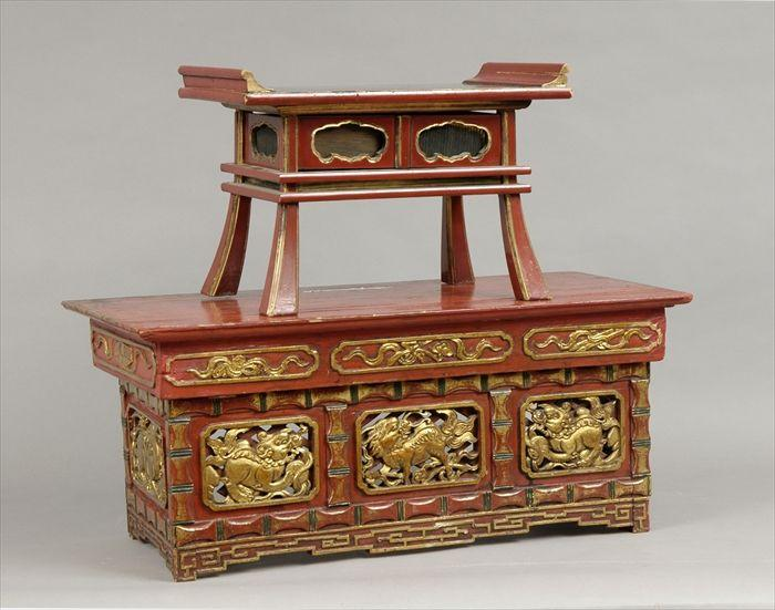 Japanese Red Lacquer Shrine Table Together