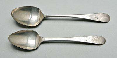 Two Freeman Woods coin silver spoons, marked