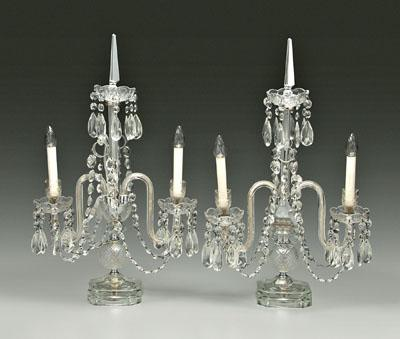 Pair crystal lamps: candle style lights on