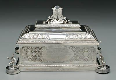 Presentation English silver casket with hand-illuminated