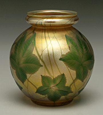 Tiffany favrile art glass vase, intaglio