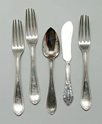 Charleston coin silver flatware: three forks,