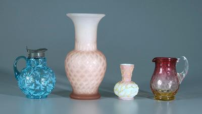 Four pieces Victorian art glass: pink diamond