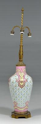 Bronze-mounted porcelain lamp, pink, yellow
