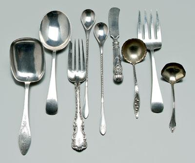 Ten pieces sterling flatware: Whiting Louis