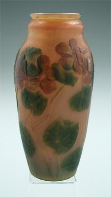 Tiffany glass vase, wheel carved and textured