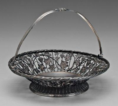 George III English silver basket, round wirework
