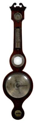 Inlaid Georgian barometer, mahogany with