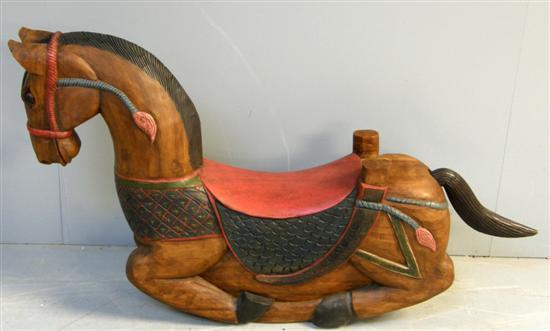 20th century eastern carved rocking horse