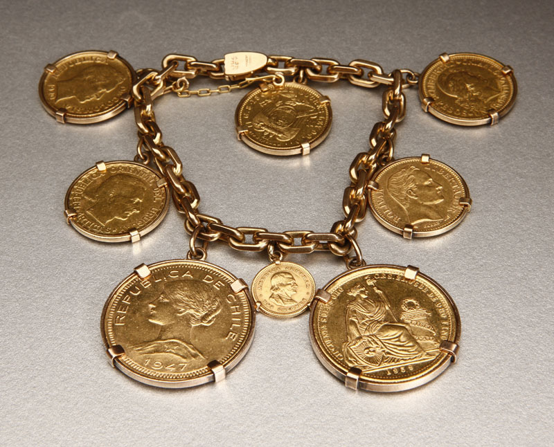 Price Guide For An 18k Yellow Gold Coin Bracelet An 18k