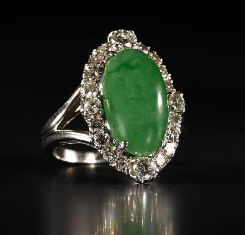 A platinum, jadeite and diamond ring. A platinum,
