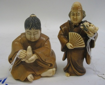 TWO JAPANESE IVORY AND WOOD HAND CARVED FIGURES: