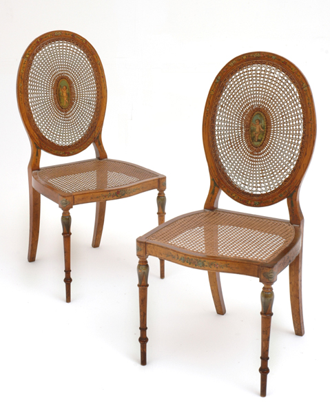 A PAIR OF VICTORIAN SATINWOOD SALON CHAIRS