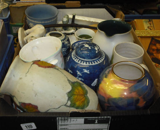 Tray of Pottery to include Wedgwood Blue