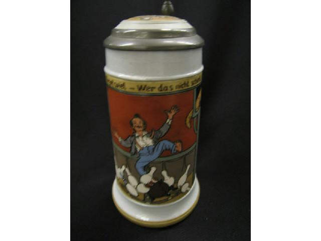 Mettlach German Etched Pottery Stein, #2959,