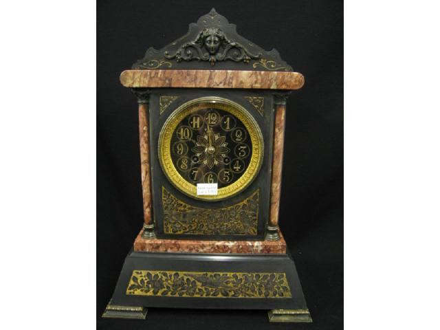French Victorian Marble & Slate Mantle Clock,