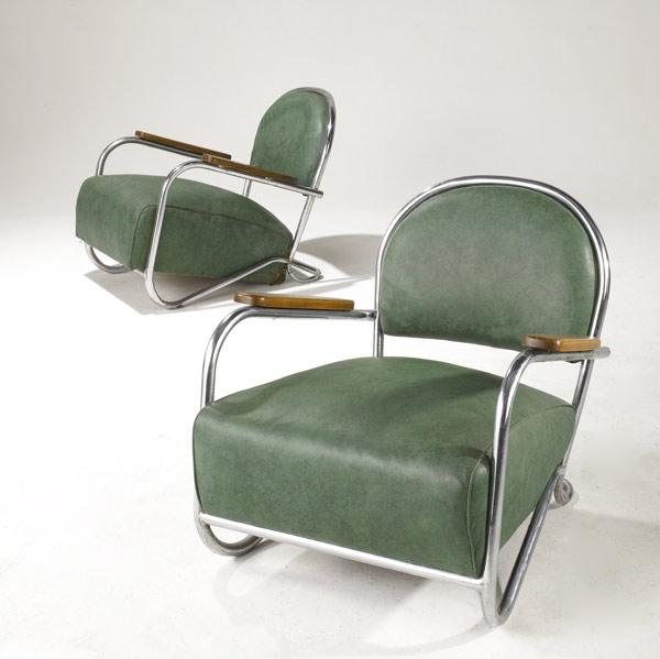 STYLE OF GILBERT ROHDE Art Deco club chairs