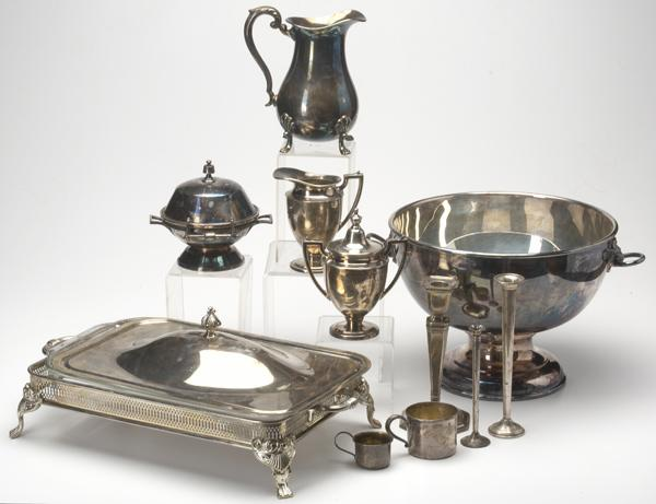 SILVER AND SILVERPLATE Eleven pieces: two