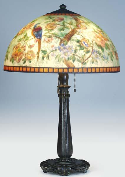 HANDEL Table lamp, its chipped ice shade