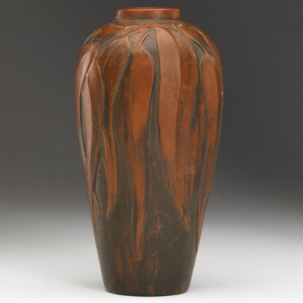 """REDLANDS Very rare, tall vase carved with"