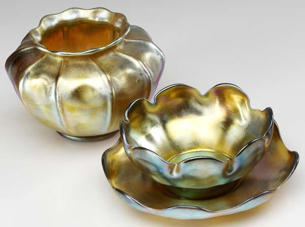 L. C. TIFFANY Three gold Favrile pieces: